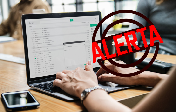 Alerta de correo electrónico fraudulento